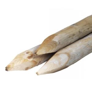 gewolm. palen geschaafd O 8 cm 2,5 mtr