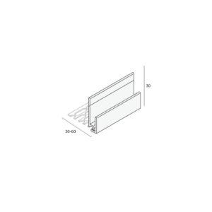 Inhaak startprofiel (2808) Aluminium      (verpakking 2x400cm)