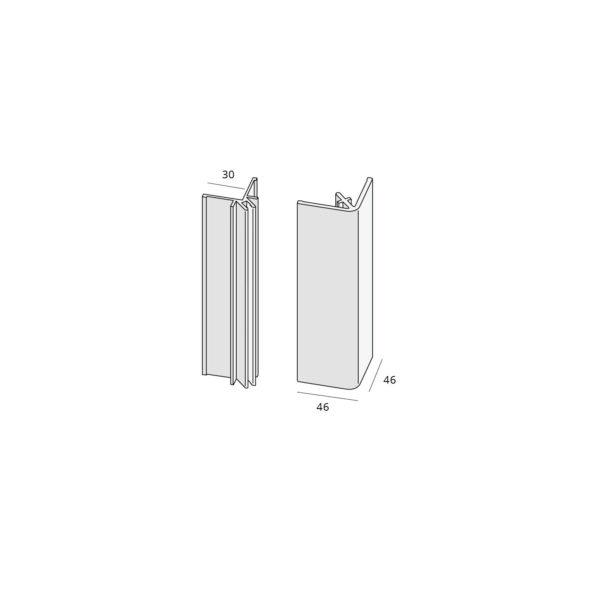 Basis uitwenidige hoekprofiel (2803) aluminium (verpakking 2x400cm)