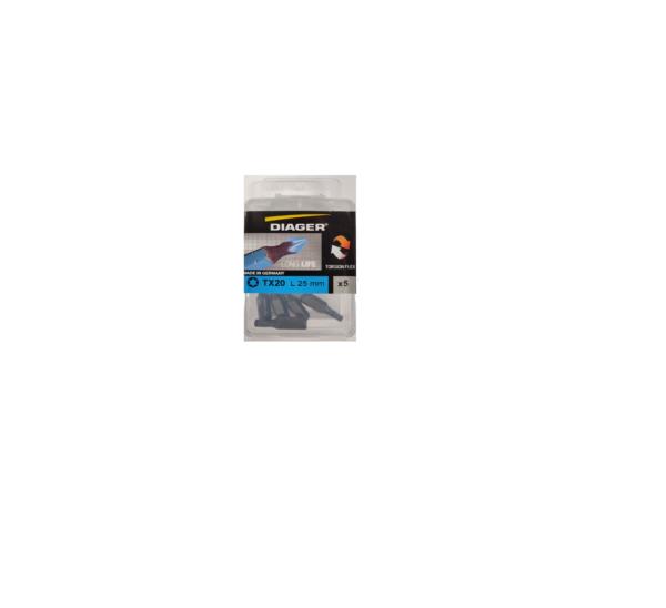 Diager® Torsion bit T-25 25mm 5st per blister